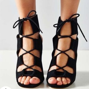 Urban Outfitters Black Lace Up Heel
